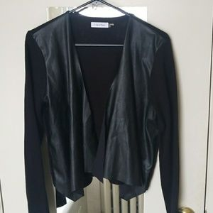 Calvin Klein cardigan with leather front size L